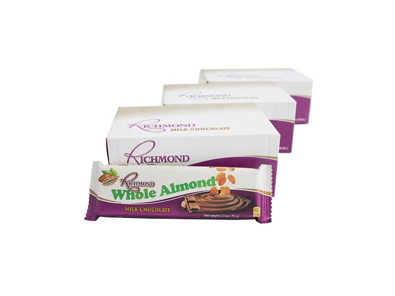 Richmond Chocolate Bar 36 Count - Whole Almond